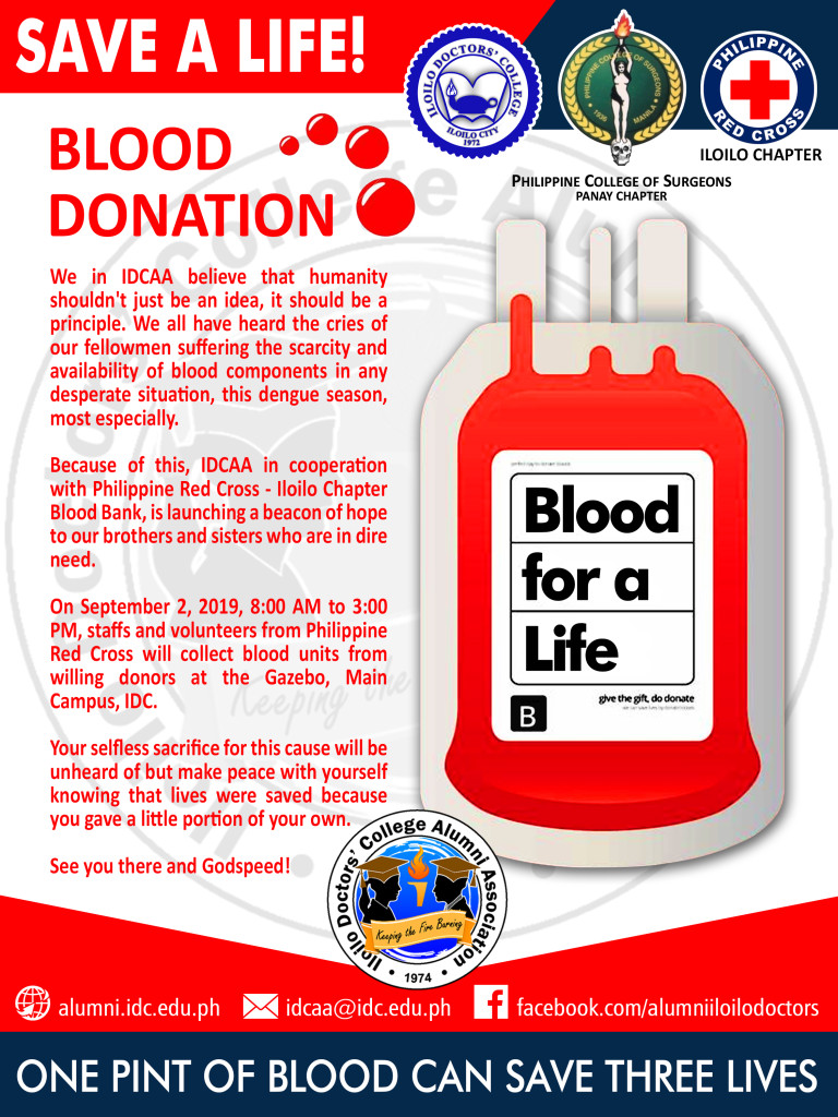 Blood Donation: September 2, 2019